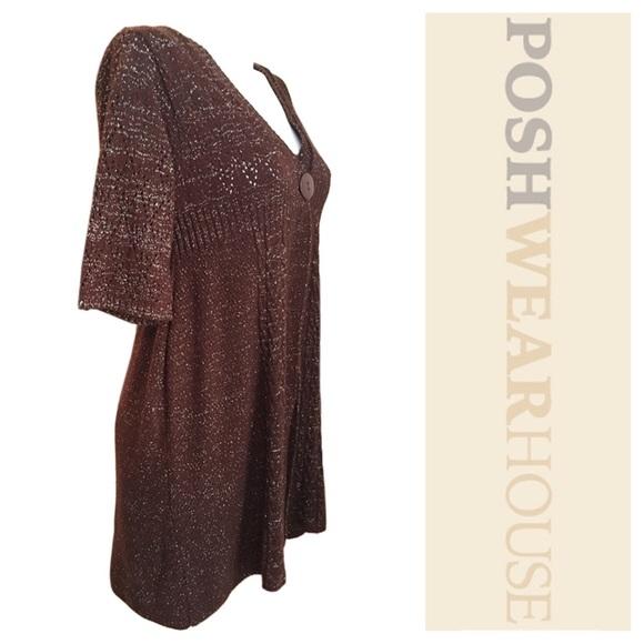 60% off Loca Loca Sweaters - Brown & Metallic Silver Sheer ...