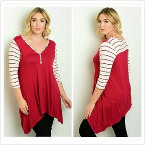 ONLY 2 LEFT-SALE-Sweet  Candy Striped Sleeve Top