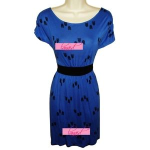 one clothing Dresses & Skirts - Royal Blue Owl Bird Skater Fit 'N Flare Dress Boat