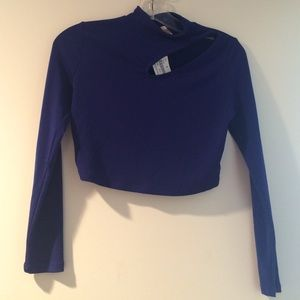 **NWT** royal blue long sleeve crop top SIZE S