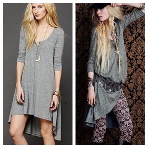 Free People Jersey Grey Button Up Down Shirt Dress