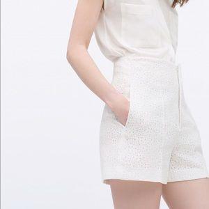 white high waist cut work shorts by Zara