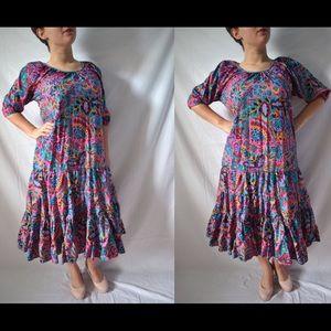 Vintage 70s Drop Waist Floral Dress