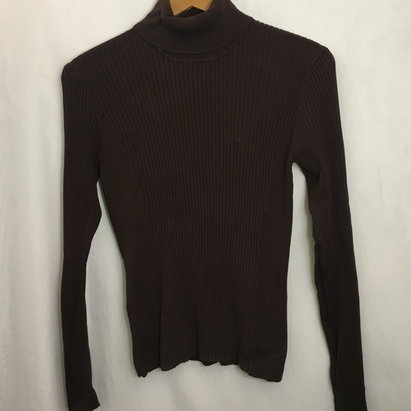 Dark Brown Fitted Ribbed Turtleneck Knit Sweater M from Allison's ...