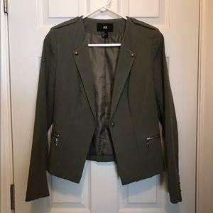 H&M Camo Green Blazer w studs