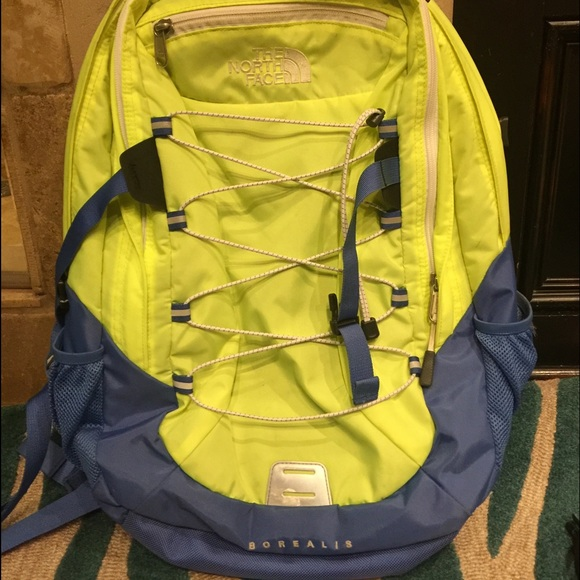 7380e41c9 neon yellow and blue borealis northface backpack
