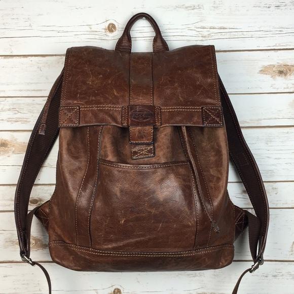 a2db8477f1 Fossil Handbags -  Fossil  Vintage Leather Backpack School Work Boho