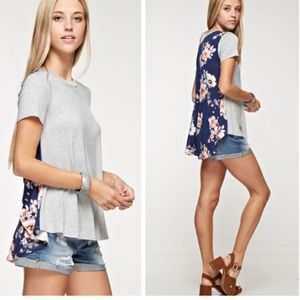 •floral accent top•