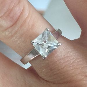 Sterling Silver Engagement CZ Ring. Beautiful!