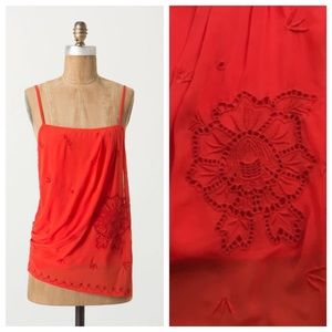 Anthropologie orange embroidered top