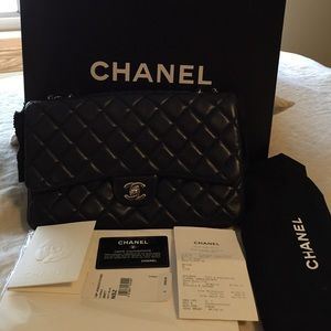 Authentic Chanel 3 flap bag navy blue
