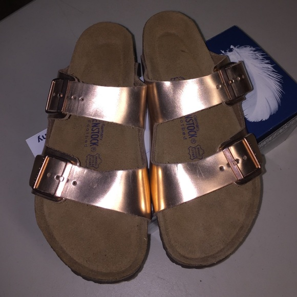 a1cce84cab56 Brand new metallic copper Birkenstock Arizona 42