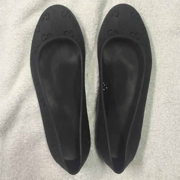 438382c80 Gucci Shoes - Authentic Black Gucci Rubber GG Logo Flats