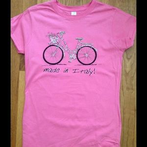 Tops - Pink Bicycle Tshirt with cute Bling - Never Worn!