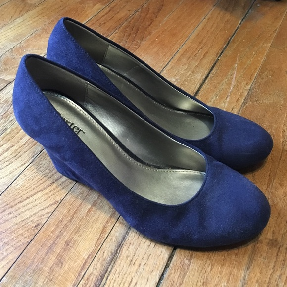 fb9abed177 Dexter Shoes | Payless Navy Suede Wedges | Poshmark