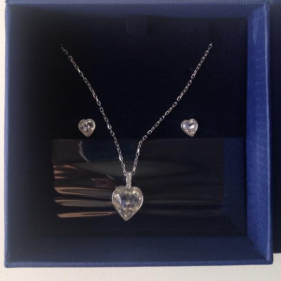 70432c12e Swarovski Jewelry | Nwt Heart Necklace And Earring Set | Poshmark