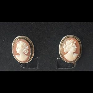 Vintage Sterling Silver Cameo Clip Earrings