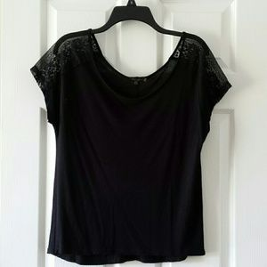 Alcott Tops - Black Top with Lacey Sleeves - bought in Italy!