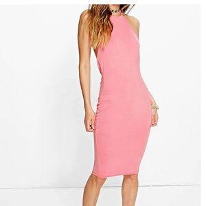Dresses & Skirts - Light Pink Halterneck Midi Dress
