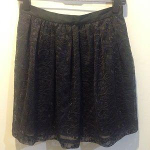 Walter Baker Dresses & Skirts - Walter Baker Black Lace Silk Skater Skirt