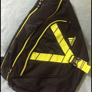 8cb79f313d adidas Bags | Black Neon Yellow One Shoulder Backpack | Poshmark