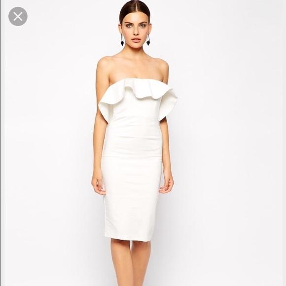 97032111501a Bardot Dresses | Cloud 9 Strapless Frill Midi Dress | Poshmark