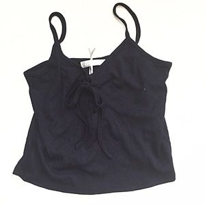 Navy Blue Tank Top with Lace Tie Up!