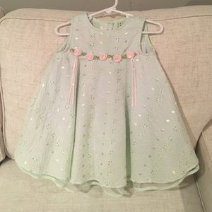 Bonnie Baby Other - Green eyelet girls dress