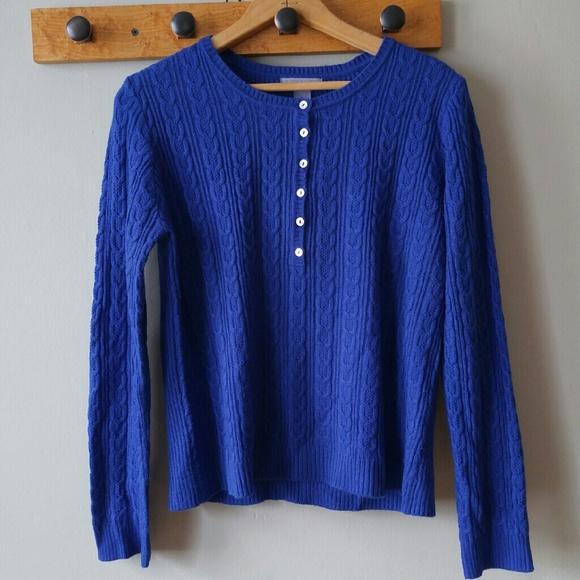 Laura Scott - Indigo blue sweater size petite Large henley from ...