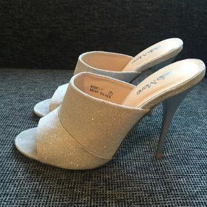 Silver Mesh 4in Glitter Open Toe Mules Heels Size7