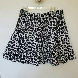 Collective Concepts Leopard Print A-line Skirt