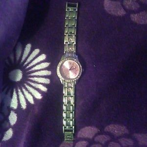 Via Appia Due Accessories - Pink rhinestone studded watch