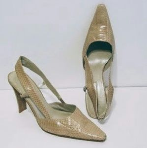 Enzo Angiolini Beige Reptile 7.5 Shoes & Bag