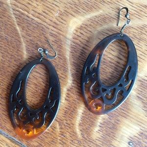 Hot Topic Jewelry - Swirly Tortoise Shell Plastic Gypsy Earrings Oval