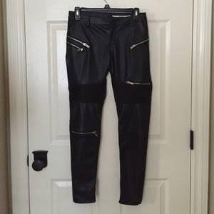 Faux Leather Pants with Zippers