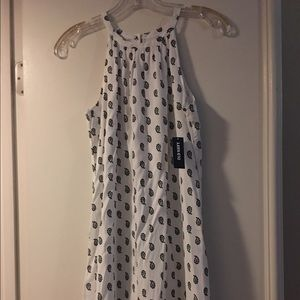 Old Navy white dress with black paisleys NEW!