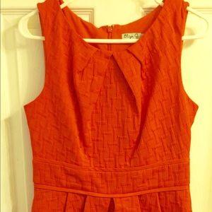 Eliza J Dresses & Skirts - Eliza J Coral tucked basket weave jacquard dress