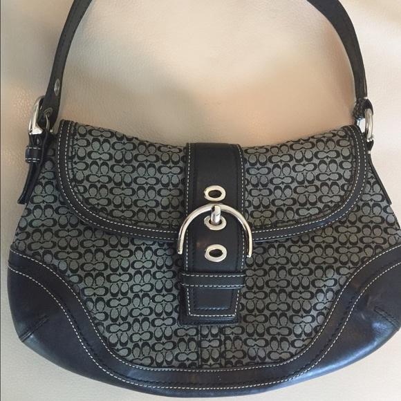 bb2276497e7 Coach Bags   Leather And Canvas Black Signature Hobo Bag   Poshmark