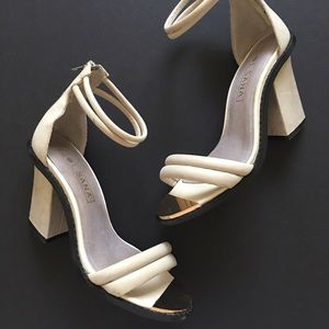 Solsana Shoes - Strappy grey leather chunky heels by Solsana