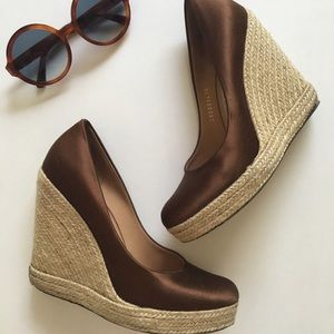 Salvatore Ferragamo Brown Espadrille Wedges