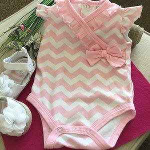 Baby Essentials Other - Pink & White Chevron Stripe and Ruffle Onsie