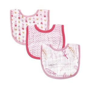 Hudson Baby Other - Hudson Baby Girl's 3-pack Feather Muslin Bibs