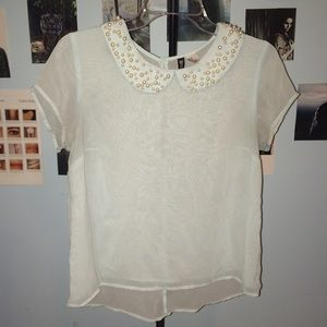 H&M Pearl Collared Baby Blue Blouse