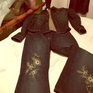 Ted Baker blue jeans /jacket set.
