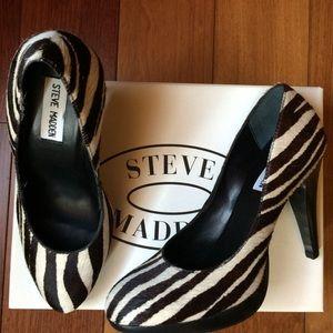 Steve Madden Shoes - NIB Steve Madden Zebra Print Calf Hair Heels