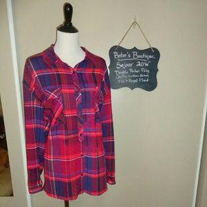 Sejour Tops - Sejour 20W Poly Chiffon Pink plaid button blouse