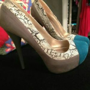 Aqua And Grey Faux Snakeskin Heels