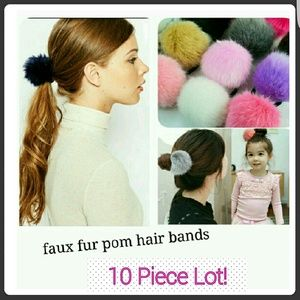 Accessories - 10 Piece Lot Faux Rabbit Fur Hairbands