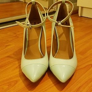 Kelsi Dagger Shoes - Mint green pumps with ankle strap
