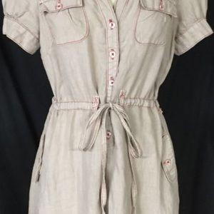 Anthropologie Maeve light brown dress.